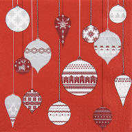 Servietten Patterned Ornaments Rot