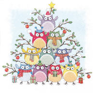 Servietten Tree of Owls